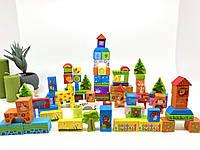 Деревянный конструктор. Развивающие строительные блоки. Зоопарк. 100 элементов