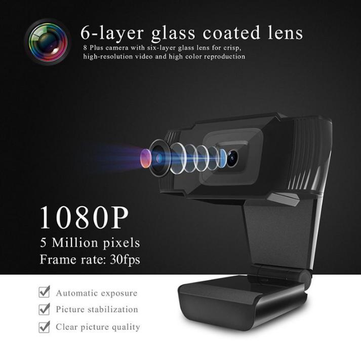 Вебкамера 8 MP 1080р + микрофон. Качественная картинка, фокус, регулировка.