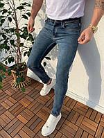 Джинсы мужские стильные серые узкие под бренд Копия люкс