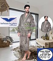 Bellezza 7024 чоловічий натуральний халат оливкового кольору (100%-бавовна)