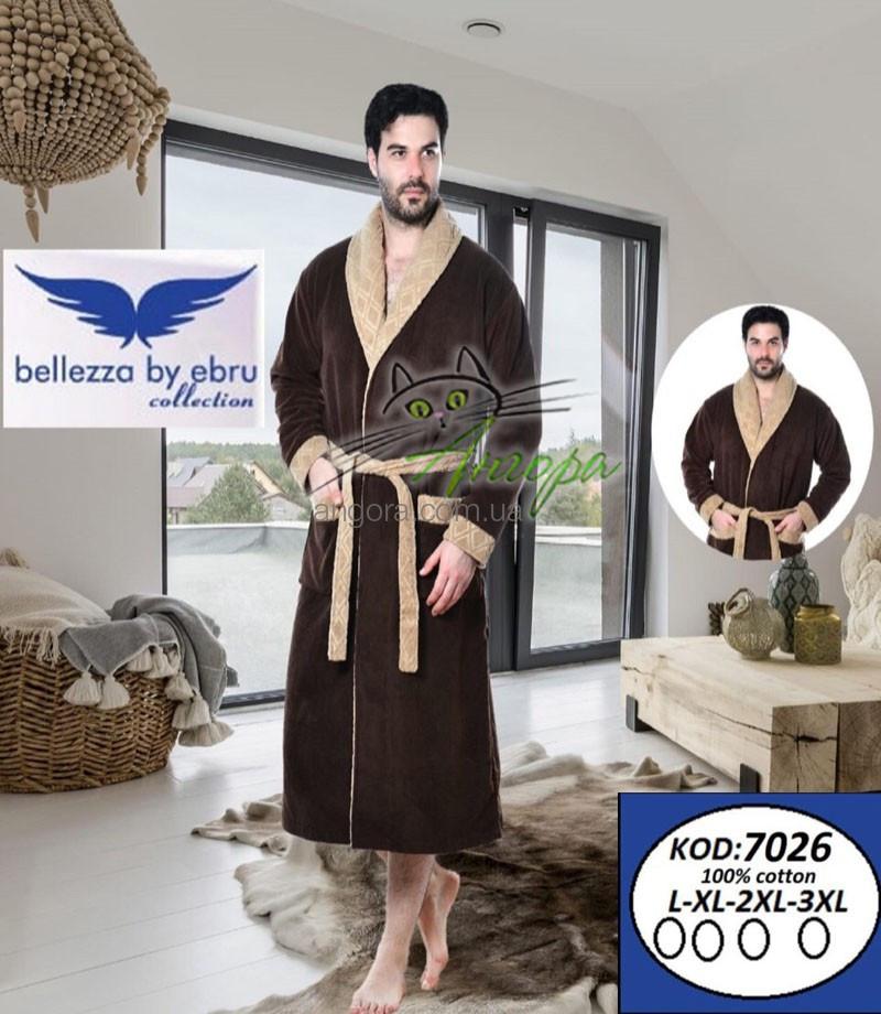 Bellezza 7026 мужской натуральный халат коричневого цвета (100%-хлопок)