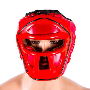Шлем для бокса красный с пластиковой маской Venum, размер M, фото 2