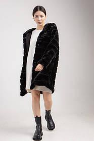 Женская искусственная шуба до колена с капюшоном и карманами в 3 цветах черный
