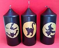 Хэллоуин декоративная свеча столбик черный с рисунком 12*5 см