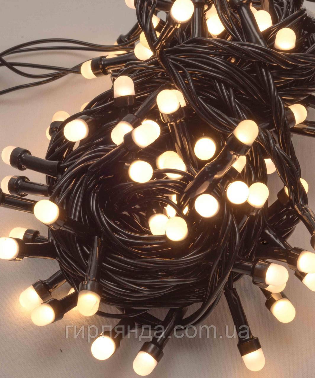 Лінза 8мм 100 LED, чорний провід 7м,  білий теплий