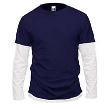Чоловіча темно-синя комбінована футболка з довгими рукавами