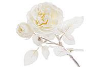 Декоративный цветок Английская роза с бутонами, 48см, цвет - кремово-белый