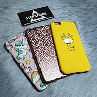 Чехол iPhone 6 6s единорог с принтами жираф мозаика бампер противоударный пони розовый жёлтый розовое золото