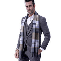 Чоловічий теплий шарф в клітку, фото 6