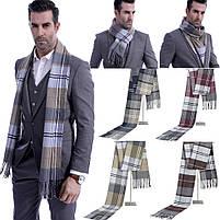 Чоловічий теплий шарф в клітку, фото 2