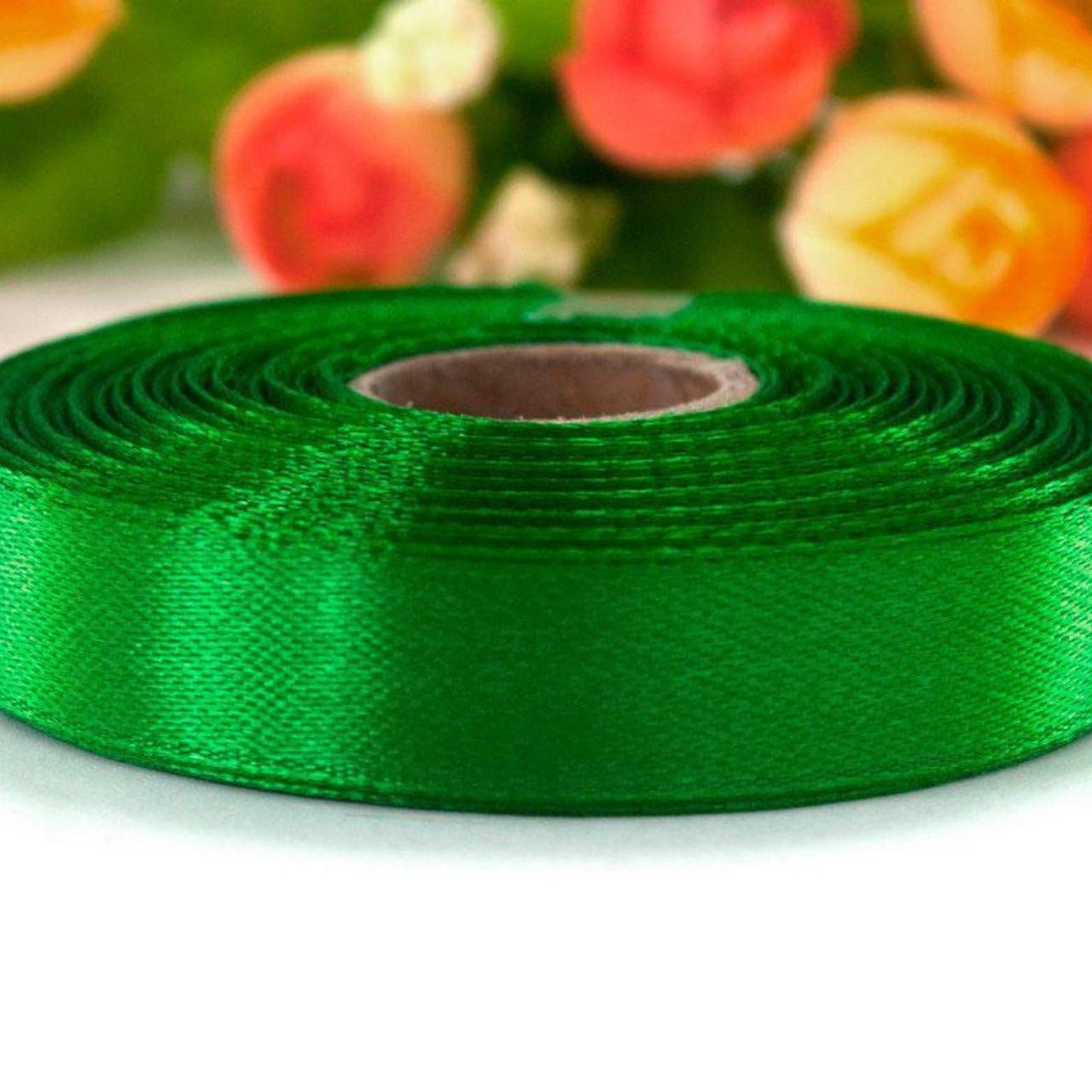 Атласная лента 12 мм (23 м.) зеленая