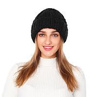 Жіноча вязана зимова шапка в чорному кольорі, фото 2