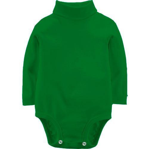 Зелений дитячий боді з довгими рукавами