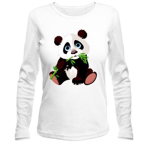 Лонгслив панда с бамбуком