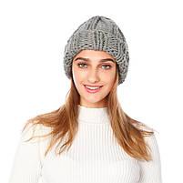 Жіноча вязана зимова шапка в сірому кольорі, фото 2