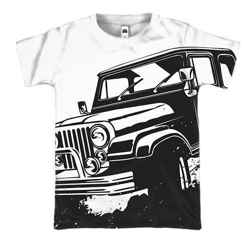 3D футболка с черным джипом