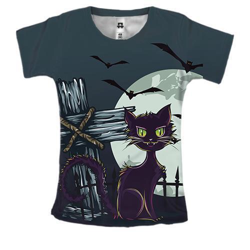Женская 3D футболка с котом на кладбище