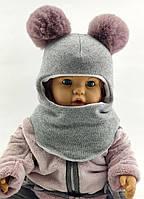 Шапка шлем детская 46 48 50 52 размер шапки ангоровая головные уборы детские, фото 1