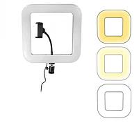 Кольцевая светодиодная селфи-лампа Led кольцо 28см D35 для блогера с держателем для телефона Квадратная
