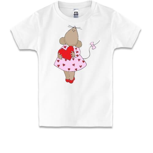Детская футболка с влюбленной крысой