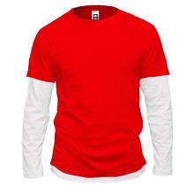 Чоловіча червона комбінована футболка з довгими рукавами