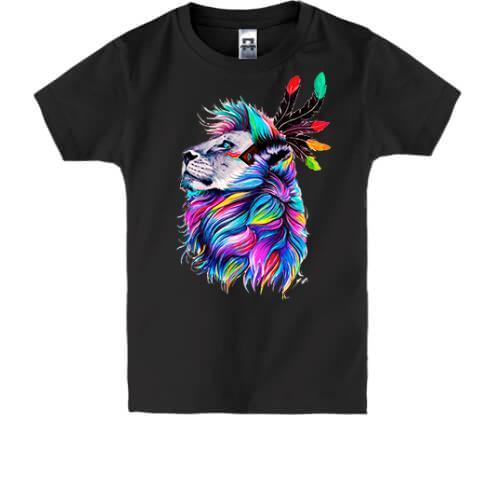 Детская футболка со львом-индейцем