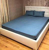 Простынь на резинке 220*240 на резинке для матраса 160*200 + 20 см с наволочками 50*70 - 2 шт. Синяя