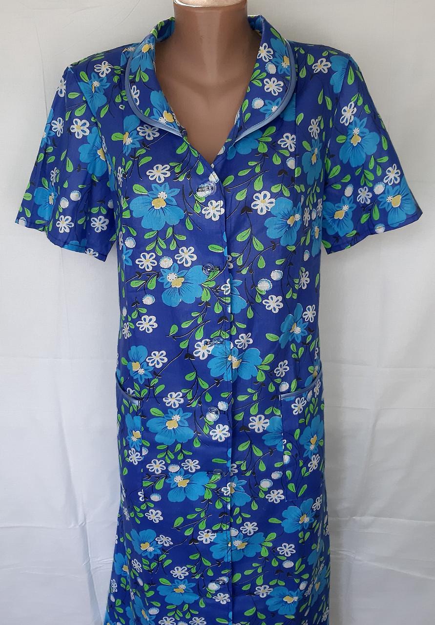 Летний халат с коротким рукавом 50 размер Синие маки