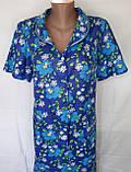 Летний халат с коротким рукавом 50 размер Синие маки, фото 4