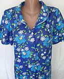Летний халат с коротким рукавом 50 размер Синие маки, фото 6