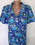 Летний халат с коротким рукавом 50 размер Синие маки, фото 7