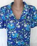 Летний халат с коротким рукавом 50 размер Синие маки, фото 8