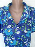 Летний халат с коротким рукавом 50 размер Синие маки, фото 9