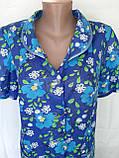 Летний халат с коротким рукавом 50 размер Синие маки, фото 10