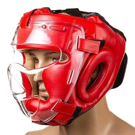 Шлем с прозрачной решеткой красный  Everlast, размер XL