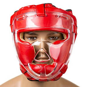 Шлем с прозрачной решеткой красный  Everlast, размер XL, фото 2