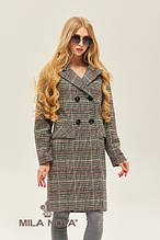 Женское демисезонное пальто ПВ-173 черный/красный ТМ Mila Nova