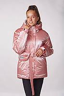 Детская подростковая куртка для девочки Lika (152-164см) Пудра Tiaren на весну-осень