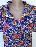 Летний халат с коротким рукавом 54 размер Пионы, фото 5