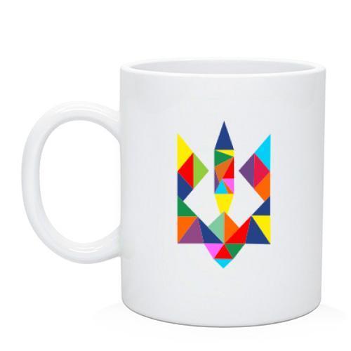Чашка с разноцветным гербом Украины