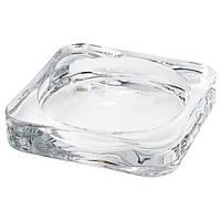 Подсвечник стеклянный для свечей 10x10 IKEA GLASIG прозрачное стекло ИКЕА ГЛАСІГ