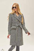 Женское демисезонное пальто ПВ-173 черный / белый ТМ Mila Nova