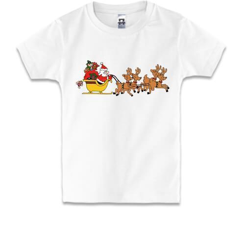Детская футболка Санта везет подарки
