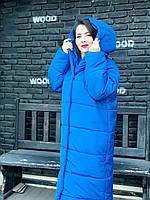 Стильный женский пуховик с капюшоном, ярко-синий (электрик), М521