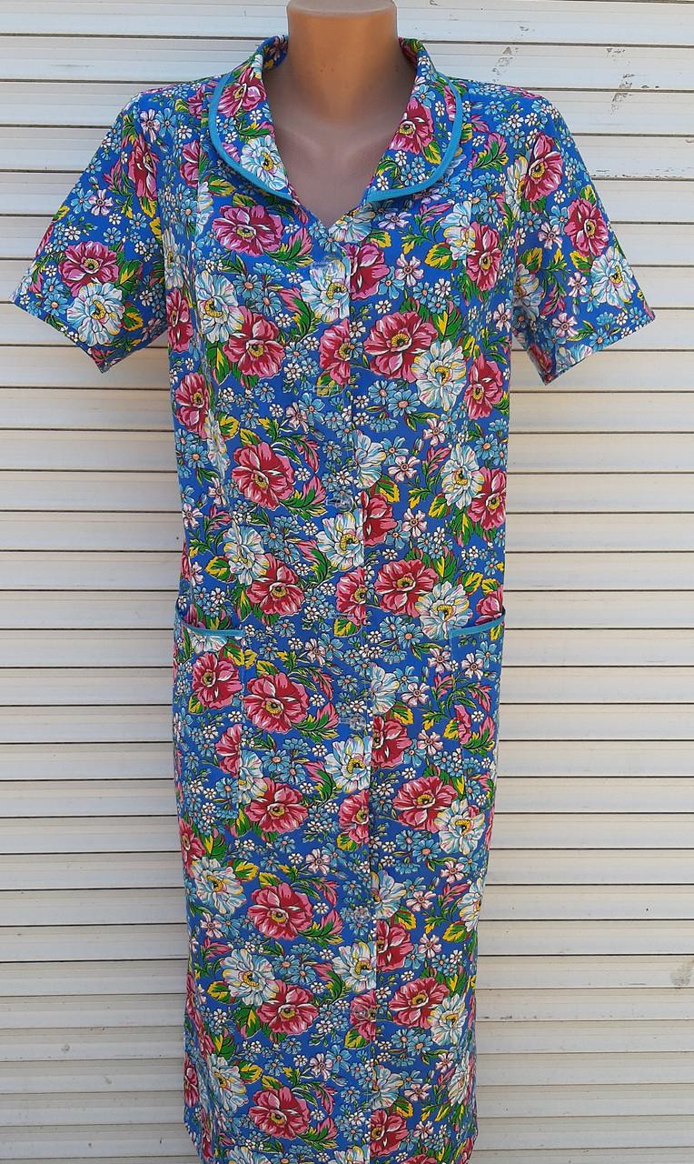 Летний халат с коротким рукавом 56 размер Цветы