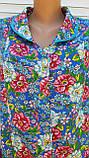 Летний халат с коротким рукавом 56 размер Цветы, фото 7