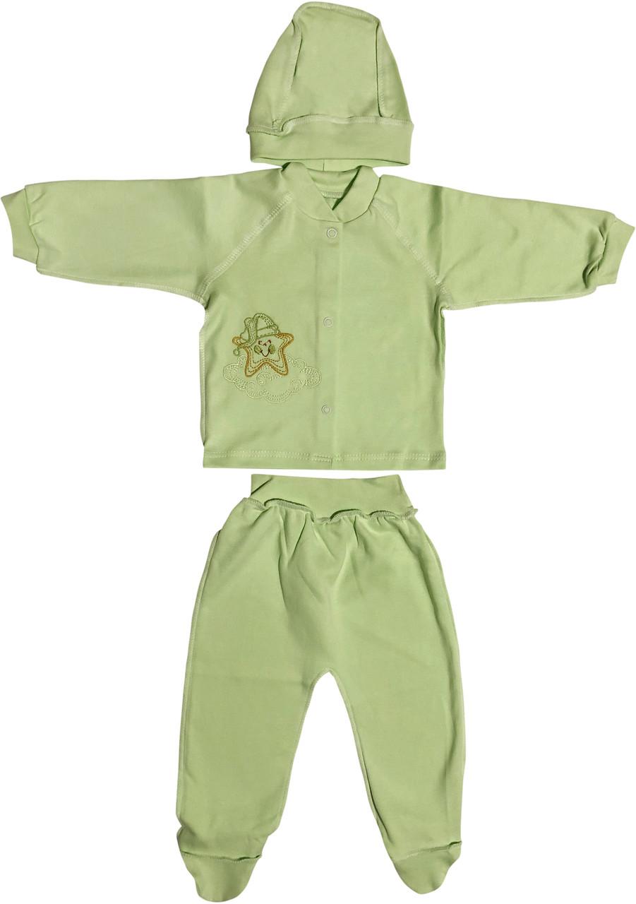 Тёплый костюм с начёсом для новорожденных рост 68 3-6 мес на мальчика девочку комплект трикотажный салатовый