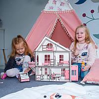 Деревянный кукольный Домик DaBo Home для LOL c мебелью и лифтом, фото 1