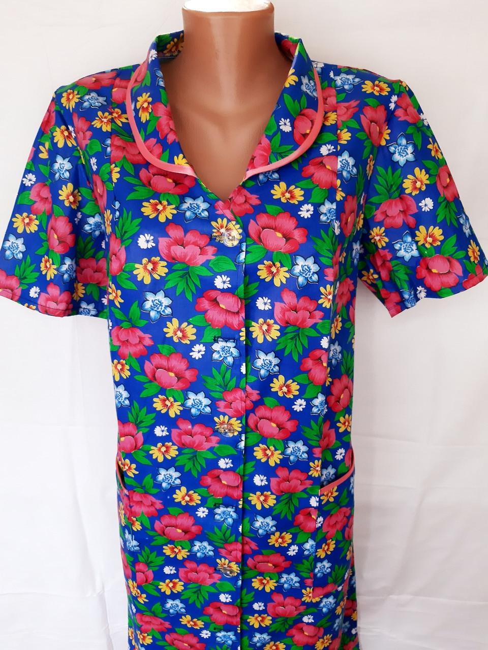 Летний халат с коротким рукавом 62 размер Розовые цветы