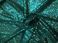 Пайеточная ткань густая Зеленая бирюза